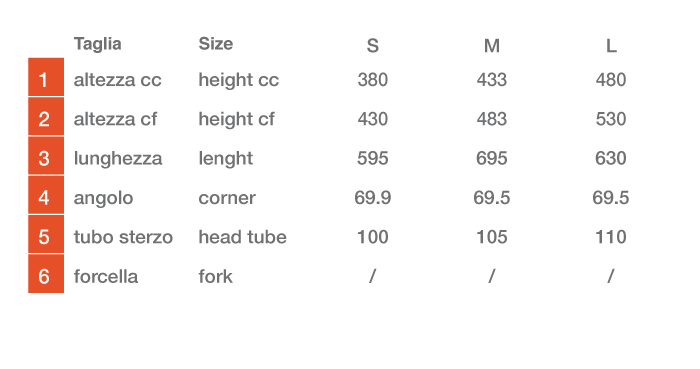 Dimensioni telaio LUCIFERUS29 DYNATEK